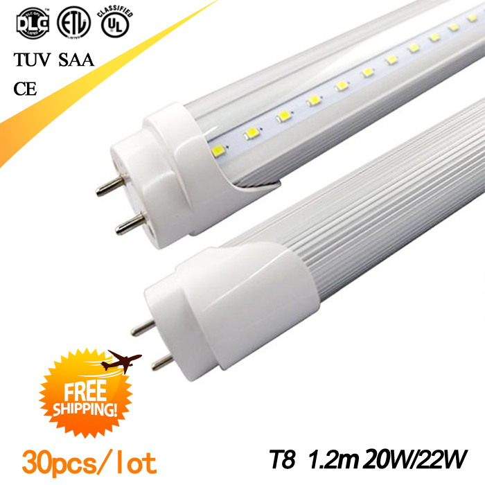 Promotion! t8 led tube light 1200mm 20w 22w 4ft, smd 2835 110v 220v, FEDEX Free Shipping, 30pcs/lot(China (Mainland))