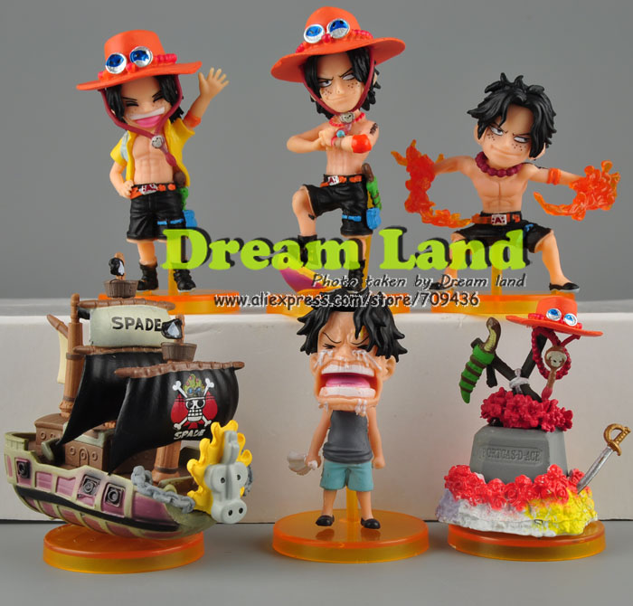 One Piece Whole life of Portgas D. Ace Figure Figures Set of 6 pcs X'mas Gift toys set(China (Mainland))