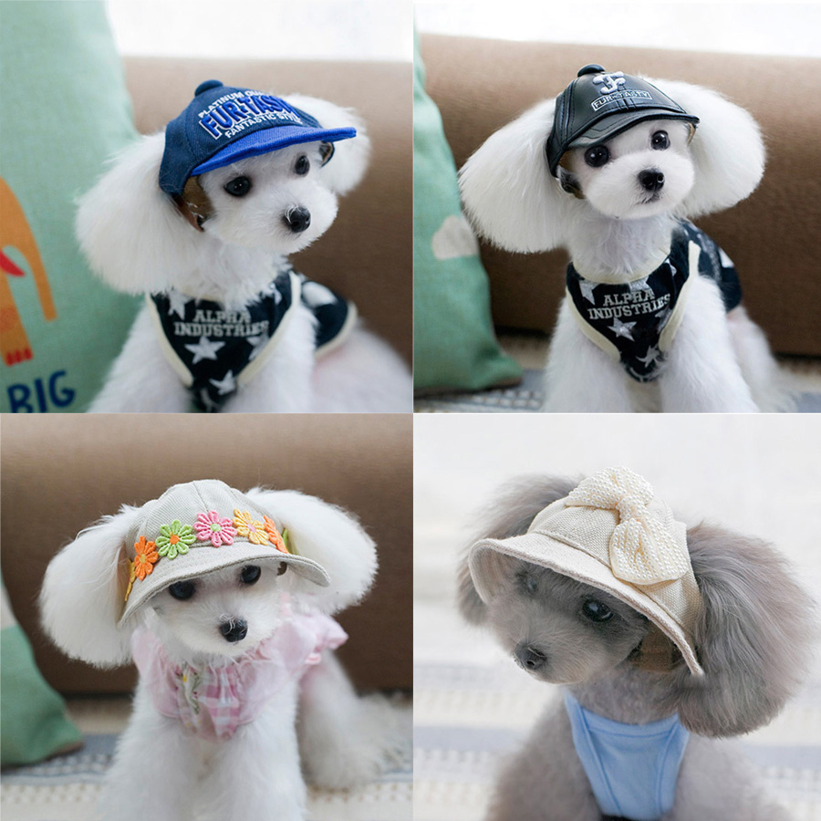 Free shipping Pet Hats Pet accessories beret Pet cap Dog hat Teddy Dog Poodle Hat hair 11Style Baseball Hat For Pet Windproof(China (Mainland))