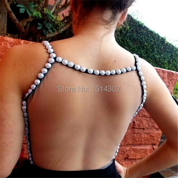 Europe And America Women Summer Vest Individuality Sleeveless Pearl Ladies'  T-Shirts Sexy Backless Tank Tops Hot Selling(China (Mainland))