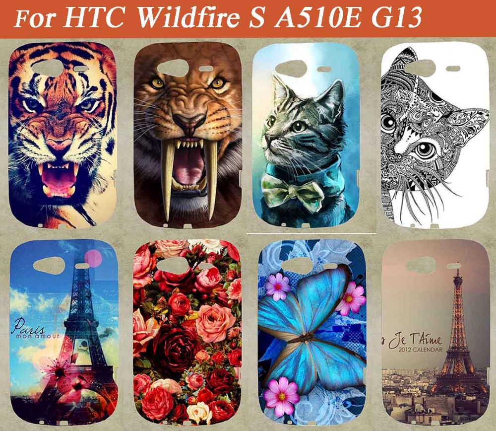 For HTC Wildfire S A510E G13 Phone Case,Painting Colored Tiger Lion Owl Flowers Eiffel Towers Case For HTC A510E Sheer Bags(China (Mainland))