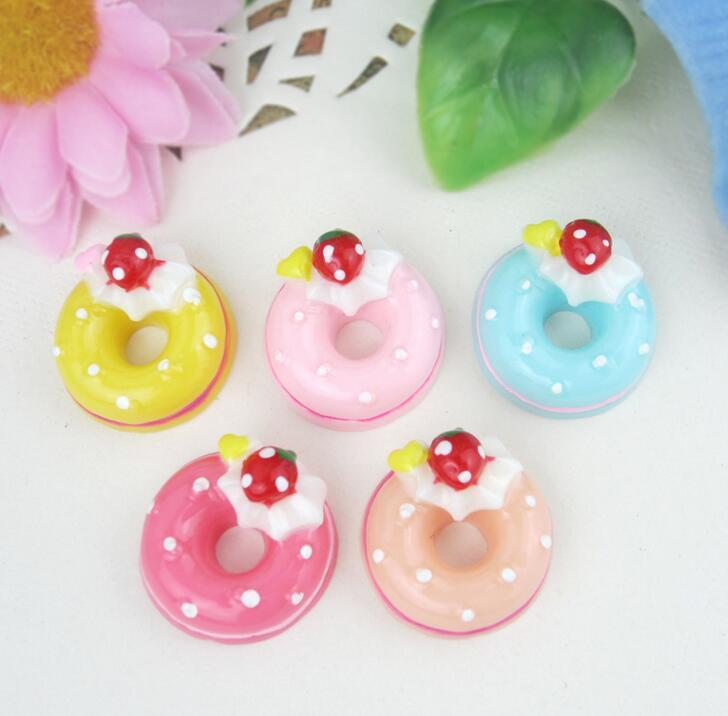 418 Send Random 3pcs/lot Cartoon Donuts Cream Resin Flatback Cabochon Embellishment DIY for Phone Hair Decoration B615(China (Mainland))