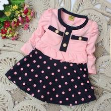 Fast delivery New 2015 children's clothing girl's dress child patchwork and dot dress baby casual dress Baby Clothing(China (Mainland))