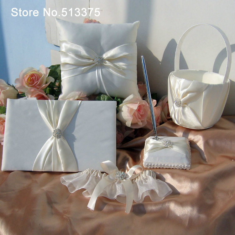 Pen Set With Feather Wedding Ring Pillow And Flower Basket Wedding