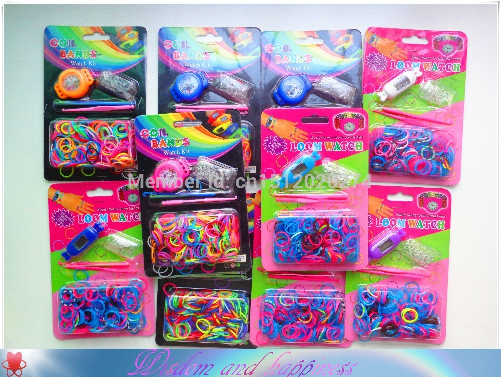 New Toy Gift High Quality Watch Loom Bands DIY Making Kit for make silicone Colorful rubber band bracelet twistz bandz B111-B114(China (Mainland))
