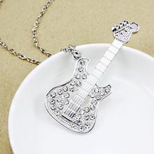 fashion gold guitar punk men long chain necklace big long pendant necklace summer style women accessories