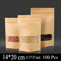 14 20cm 5 11 7 87inch 100Pcs Window Kraft Paper Bag Zip Lock Plastic Bags For