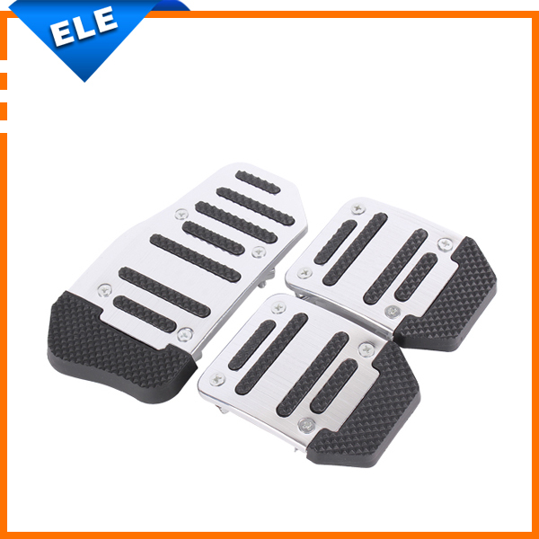 Non Slip Brake Aluminum Decals Cover accelerator pedal Automatic Manual Car Footrest Pedals Pad Board Plate 3pcs/set(China (Mainland))