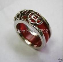 Rare Tibet silver natural red jade ring size: 8(China (Mainland))