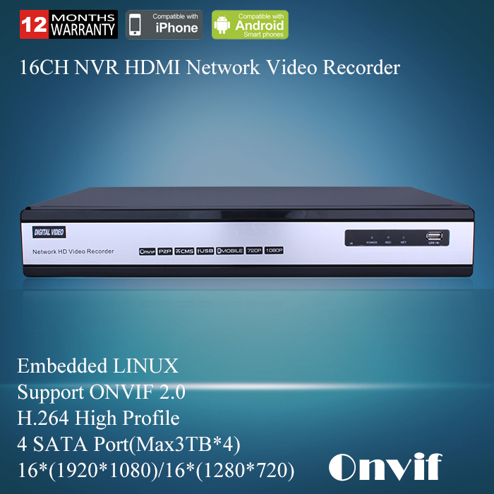 16ch NVR CCTV Network HD Video Recorder 720P/1080P Support ONVIF 1080P HDMI Output 1.5U For 1080P IP Camera NVR Free Shipping
