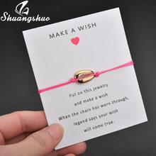 Shuangshuo Mode Shell Choker Halskette Muschel Anhänger Halsketten Für Frauen Gold coquillage Strand Schmuck collier femme 2019(China)