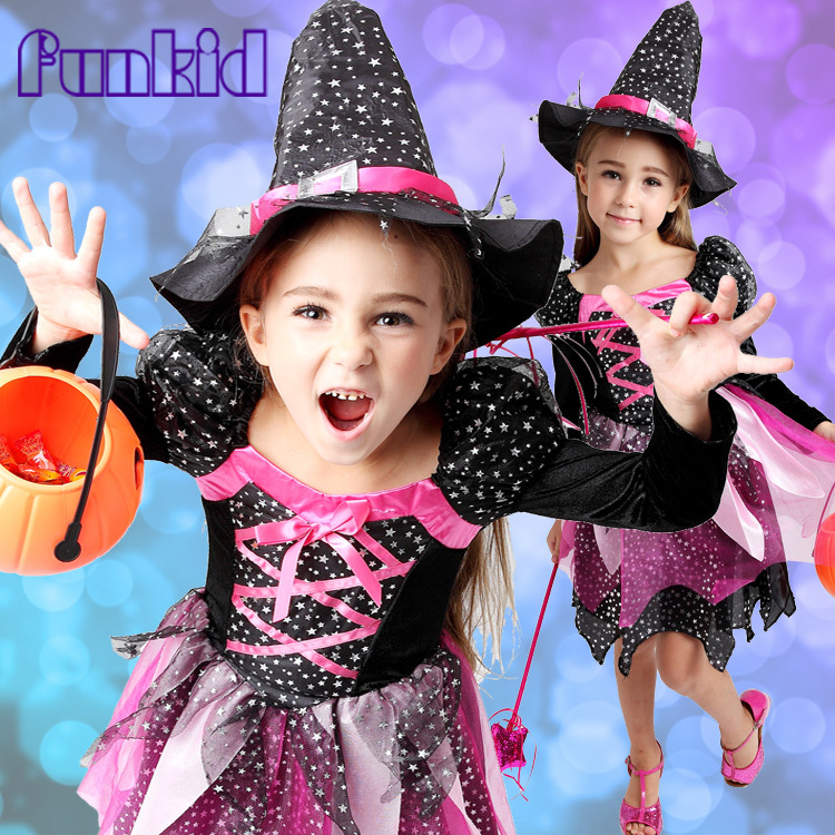 2015 Hot Sale High Quality Kids Holloween Cat Witch Girl Fancy Dress Child Party Dress Up Cosplay Costume Free Shipping(China (Mainland))