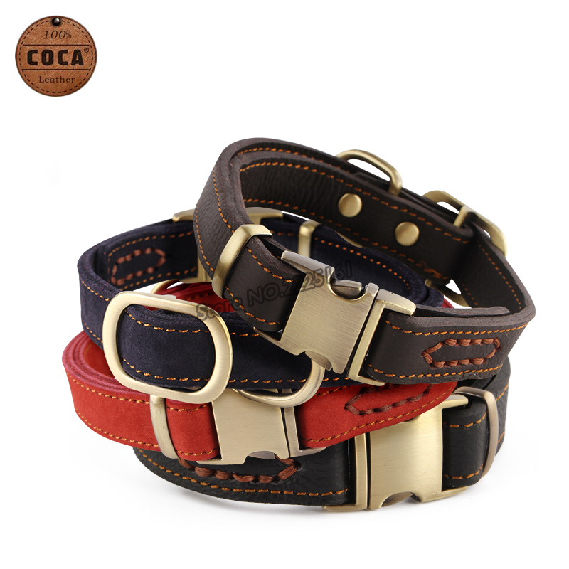 2016 COCA Brand Genuine Leather Dog Collar with Zinc Alloy Buckle Top-quality Adjustable Pet Collars Small Large Dogs Supplies(China (Mainland))