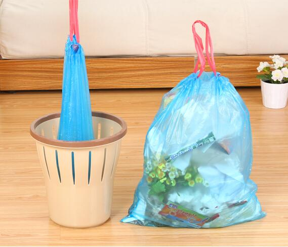 45*55cm(15 pieces)5rolls/set Drawstring Trash Bag Thicken Home Office Disposable Garbage Bags Environmental Cleaning Refuse Bag(China (Mainland))