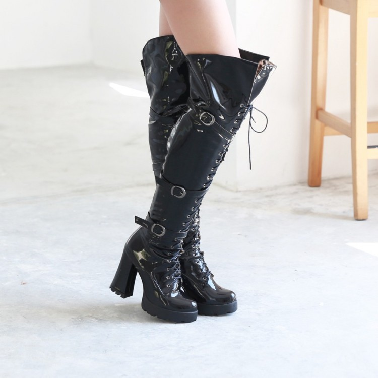 2015 Motocycle Womens Patent Leather Buckle Strap Platform Lace Knee Riding Boots Square High Heel Shoes