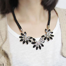 2015 New Brand Design western style multi-layer Weave Rhinestone Flowers Necklace for Lady water drop necklace jewelry XL024(China (Mainland))