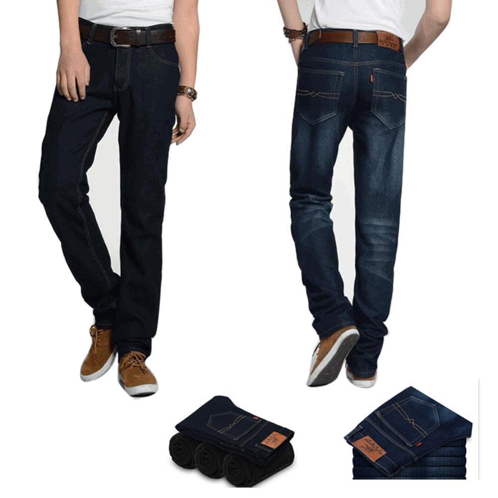 Мужские толстые джинсы с флисовой linning бархатной прямое утолщение тонкие длинные брюки тепловые мужские брюки зимы