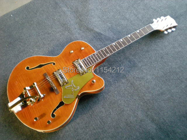 Hot Selling Cheap Price Electric Guitar Flamed Maple Top Gretsch Guitar G 6120 Jazz with Hollow Body  <br><br>Aliexpress