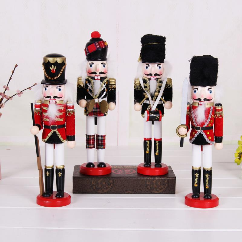 Hot selling 4 Styles 30cm Soldier Nutcracker puppet Ornaments pure manual color Birthday Gift England mood ZAKKA Dolls(China (Mainland))