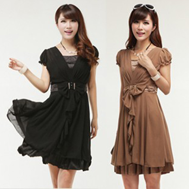 2013 women's spring slim chiffon one-piece dress plus size bow silk female skirt