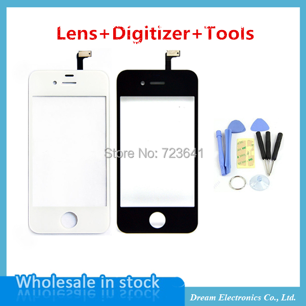 5pcs/lot Touch Screen Digitizer Front Glass For iPhone 4 4S 4G Replacement Lens Outer Touch Panel Lcd Screen Case + Repair Tool