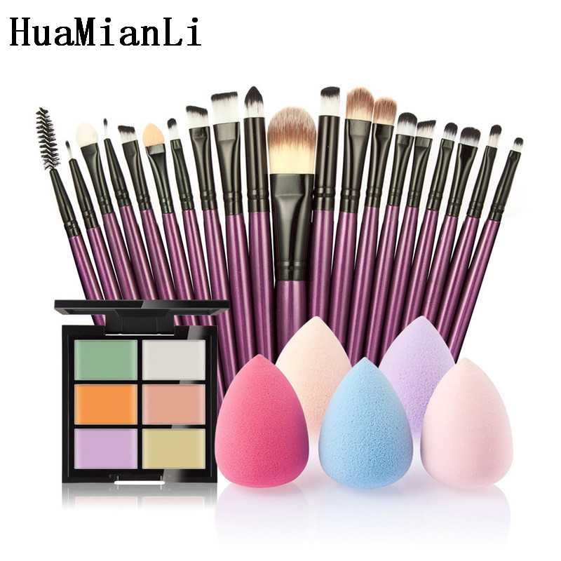 HuaMianLi Brand Makeup Brush set kit Great 6-Color Concealer + 20 Makeup Brush + 1 Water Puff Cosmetic Powder Puff Beauty tools