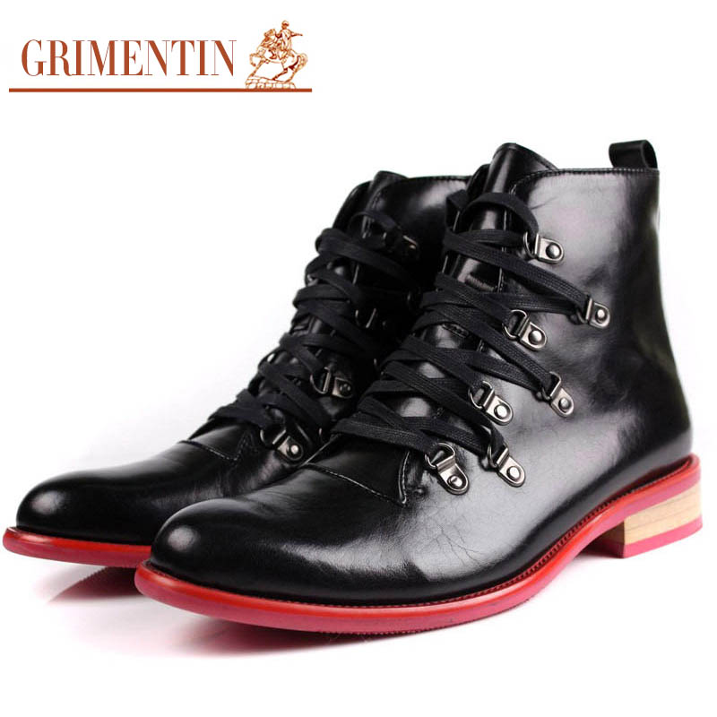 GRIMENTIN fashion motorcycle mens mid calf boots genuine leather comfortable cowboy style men shoes for business office zb447(China (Mainland))