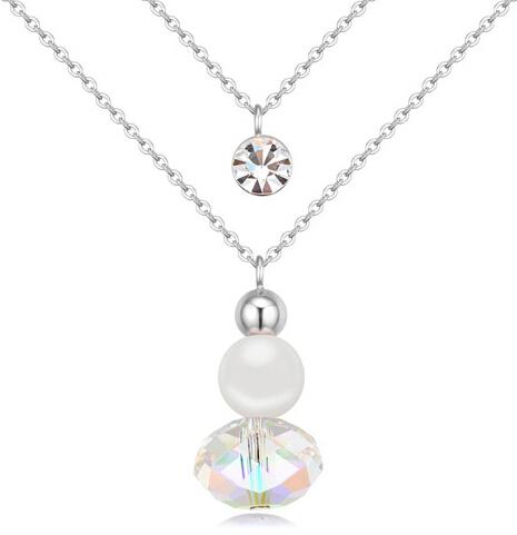 2015 New Hot Swarovski Crystal Swarovski pearls Necklace Pendants Fashion Jewelry Gorgeous Banquet Party Jewelry(China (Mainland))