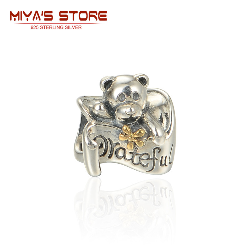 Silver 925 Tibetan Silver Charms Bear Grateful 14K Gold Bowknot Diy Spacers For Bracelet Mom Dad