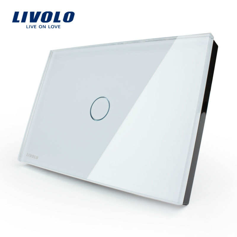 Free Shipping, Smart home, Livolo White Crystal Glass Panel, AC110~250V, LED indicator, US Light Touch Screen Switch VL-C301-81(China (Mainland))