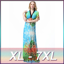 High quality plus size 2016 sexy V-neck bohemian beach resort printed beach dress