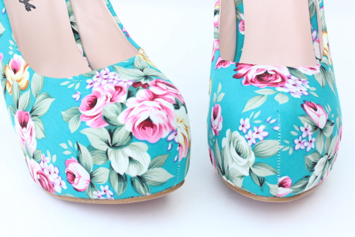Vintage Floral Print Women Pumps 2015 Summer Shoes High Heels Cotton Large Size 40-43 Small Size Shoes 32 33 Tenis Feminino