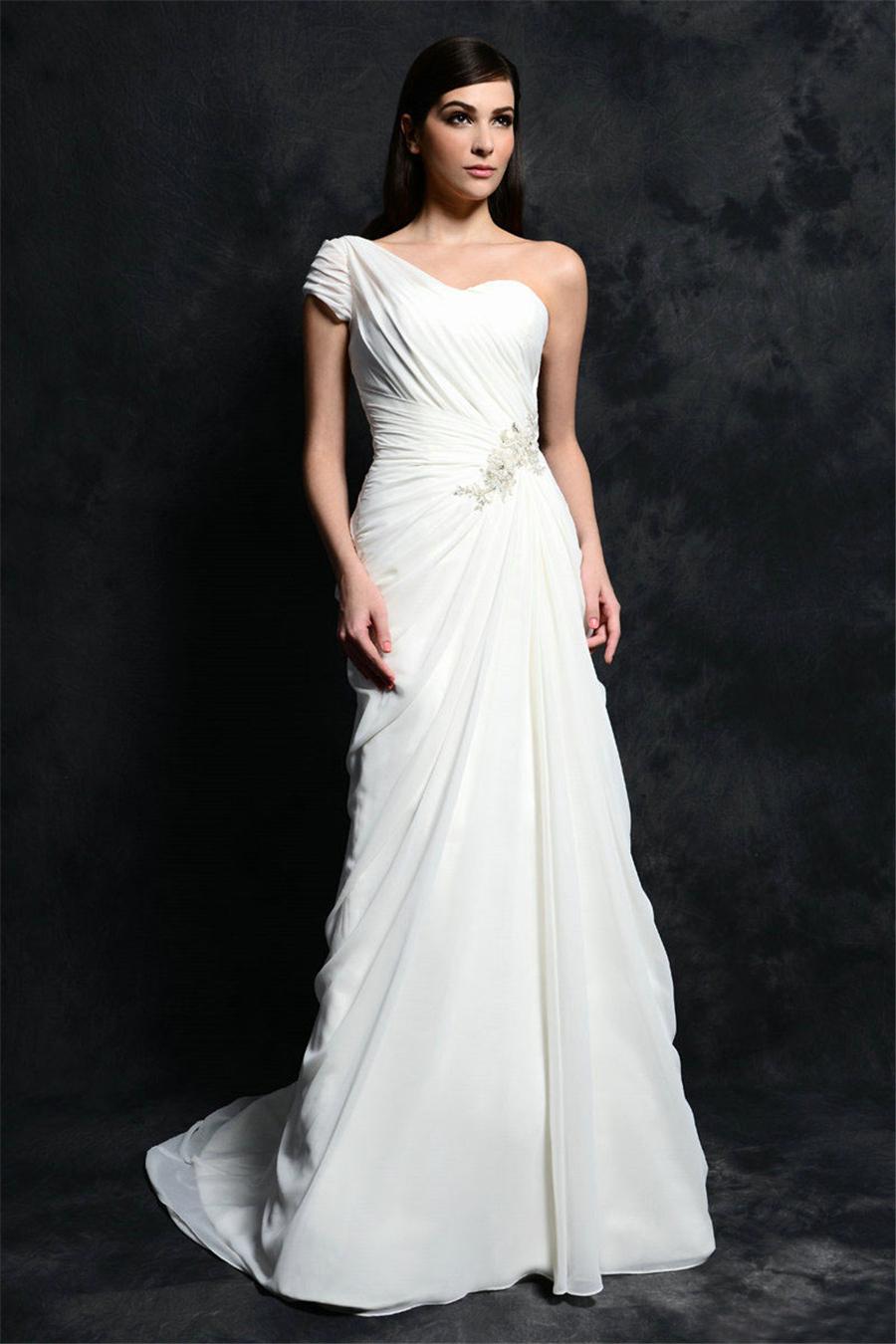Bohemian beach sheath chiffon wedding dresses white ivory for Cheap ivory wedding dresses