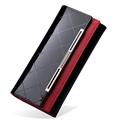Patent Leather Purse Women Fashion Luxury Long Wallet Simple Plaid Ornament Magnetic Button Money Clip Designer