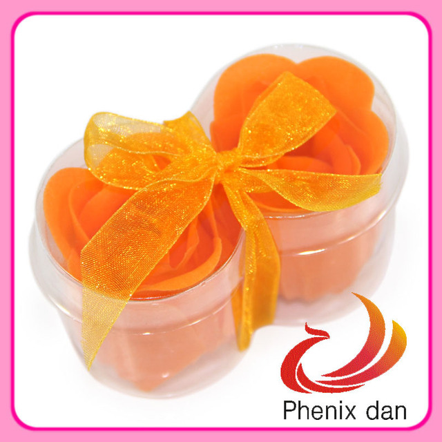 Free Shipping 2012 Hot-selling  Valentine/Birthday/festival/promotionalgift washing 2pcs rose soap Flower for Shower favors