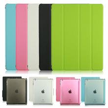 New for apple iPad 2 iPad 3 iPad 4 Transparent Clear Leather Smart Cover Case Funda Para ET00071