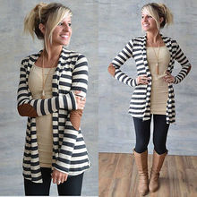 New Fashion Women Long Sleeve Striped Cardigan Long Coat Jacket Outwear Casual Loose Sweater