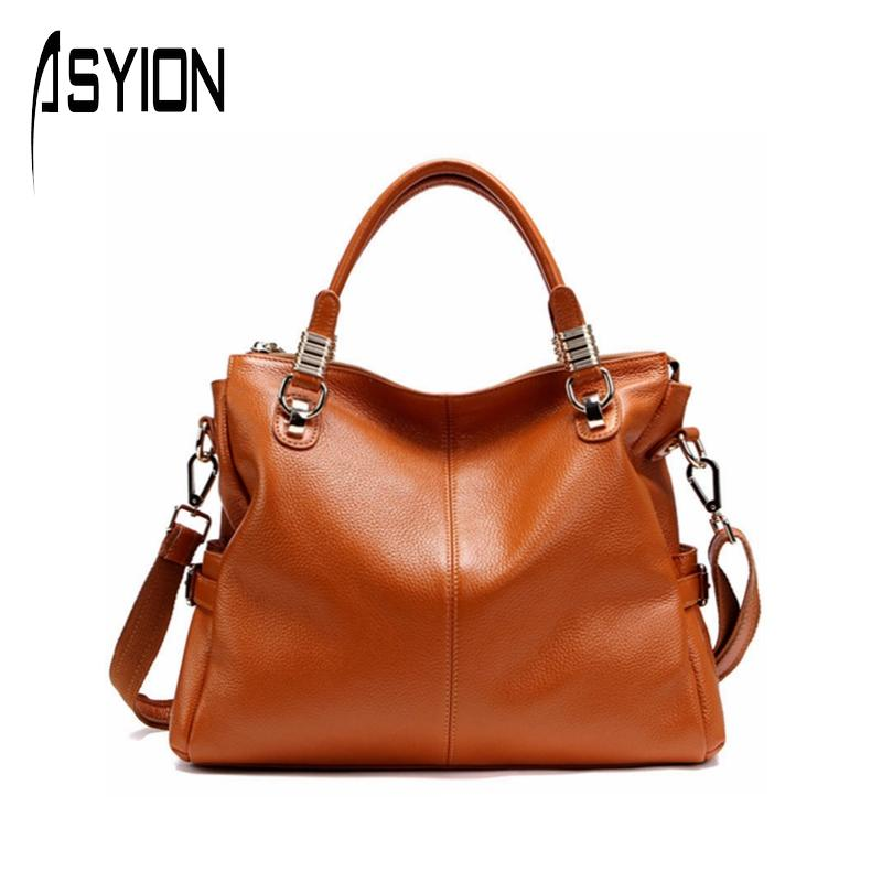 Фотография ASYION 2016 Top-Handle Women Handbags Fashion Patchwork Genuine Leather Shoulder Bag Luxury Tote Bag Satchels Bag Ladies HC142