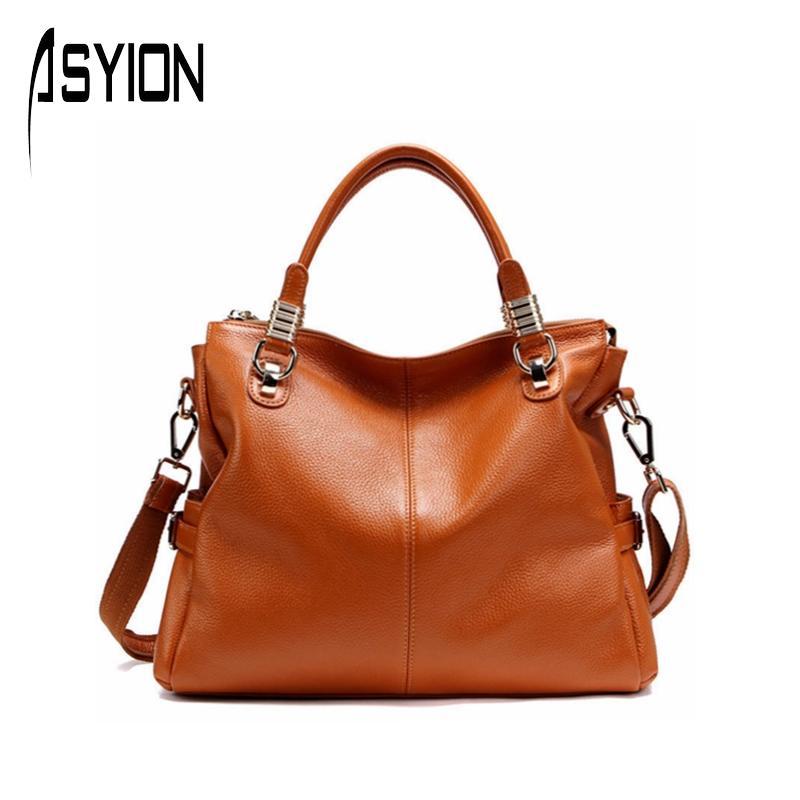 Фотография ASYION 2016 Top-Handle Women Handbags Fashion Patchwork Genuine Leather Shoulder Bag Luxury Tote Bag Satchels Bag Ladies HC142