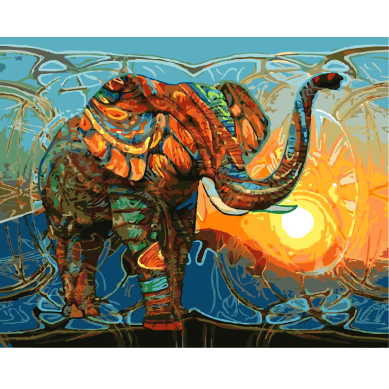 Frameless Pictures Painting By Numbers DIY Digital Oil Painting On Canvas Home Decor Wall Art Abstract Oil Painting Elephant(China (Mainland))