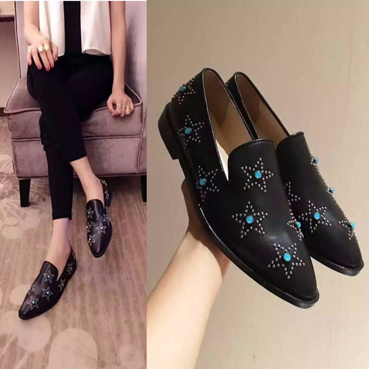 PLUS SIZE 34-42 Genuine leather Women Flat Oxford Shoes pointed toe Woman flats 2017 Fashion stars style Oxfords shoes women