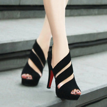 Professional supply of women's sexy fish mouth shoes ladies sandals summer high heels waterproof shoes Rome shoes Drop Shipping(China (Mainland))