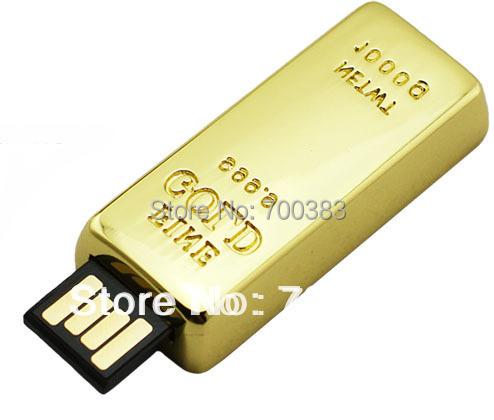 5 PCS No logo) Lot Gold Bar USB Drives Brand New Capacity Enough U Disk USB Flash Drive Gold USB Memory Stick(China (Mainland))