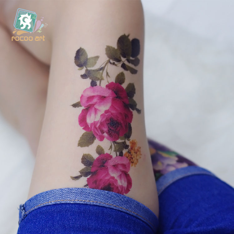 QC683 20X10cm Long HD women makeup tatuajes tattoo sleeves Body Art Rose Peony flower Temporary Flash Tatoos Sticker tatuagem(China (Mainland))