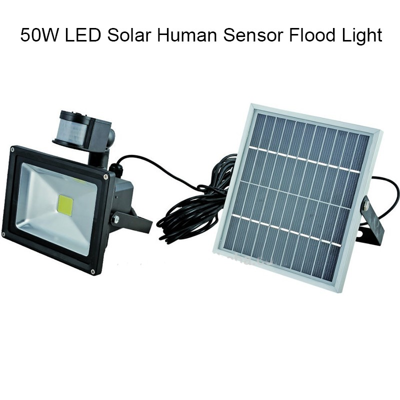 New arrival Ultra Bright 50W LED Motion Sensor Security Solar Light LED Flood Lamp Outdoor Garden Spotlights