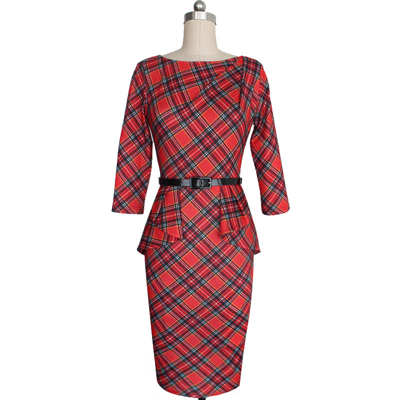 OMCHION Plus Size New Womens Vintage Elegant Belted font b Tartan b font Peplum Ruched Tunic