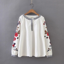 Buy 2017 Fashion Women Embroidery Flower Loose Shirts office Long sleeve Blouse Casual O-Neck Tops chemise femme blusas S1176 for $16.59 in AliExpress store