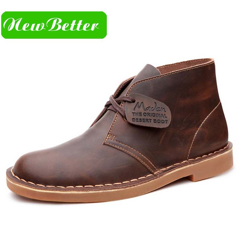 Genuine leather men winter boots ankle lace up men boots brown black leather winter men shoes(China (Mainland))