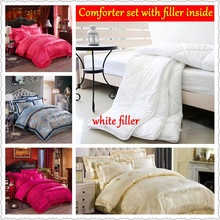 oriental bedding sets queen king size bright colored silk satin comforter luxury bedclothes jacquard embroidered chinese linens(China (Mainland))
