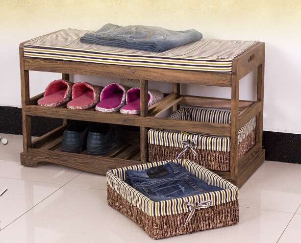 Wooden Shoe Rack With Two Storage Basket Paulownia Solid Wood Bench Living Room Furniture Japanese Style Shoe Bench Shelf Rack(China (Mainland))